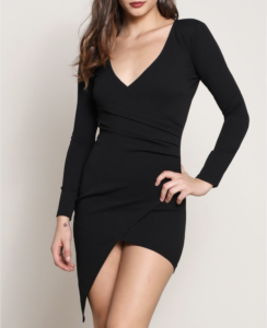 V Neck Longsleeve Asymmetrical Bodycon Wrap Mini Dress