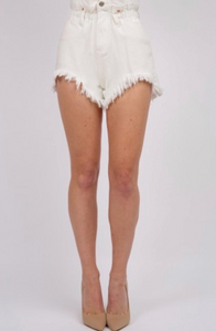 Paper Bag Waist Fray Hem Short