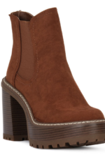 Whiskey Suede Stacked Heel Bootie