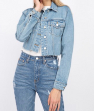 Load image into Gallery viewer, Medium Denim Raw Hem Cropped Jean Jacket