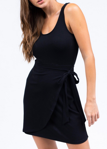 Sleeveless Faux Wrap Round Neck Mini Dress