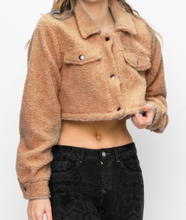 Load image into Gallery viewer, Front Pocket Button Collar Teddy Cropped Jacket