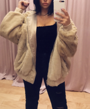 Load image into Gallery viewer, Reversible Fur Satin Hooded Bomber Jacket