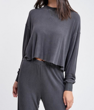 Load image into Gallery viewer, Raw Edge Long Sleeve Dropped Shoulder Waffle Top