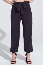 Load image into Gallery viewer, Pleat Front Self Belt 4 Pocket Jogger Style Pants