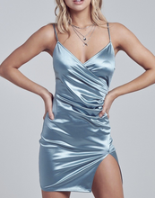 Load image into Gallery viewer, Ruched Faux Wrap Mini Dress