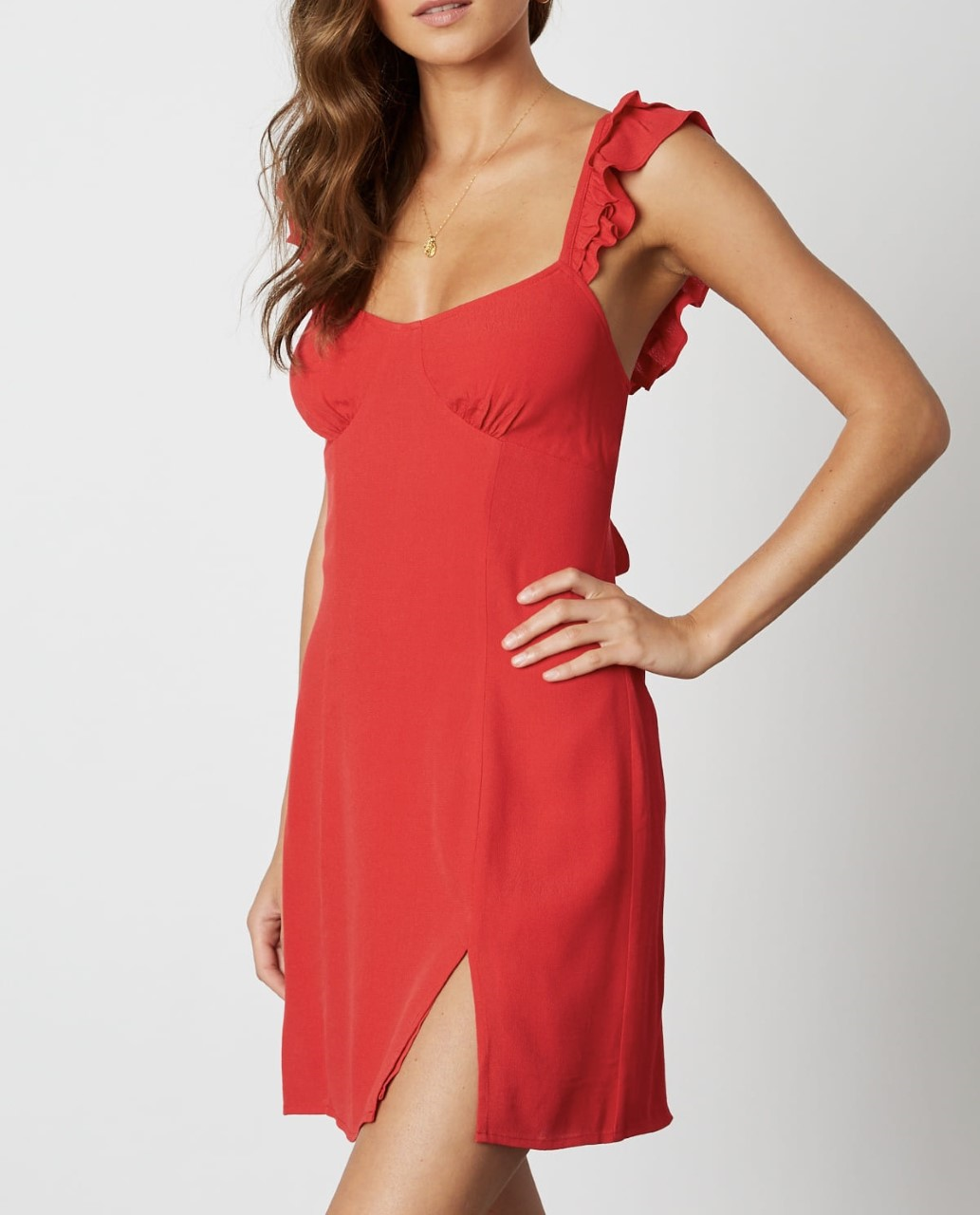 Ruffle Strap Tie Back Slit Mini Dress