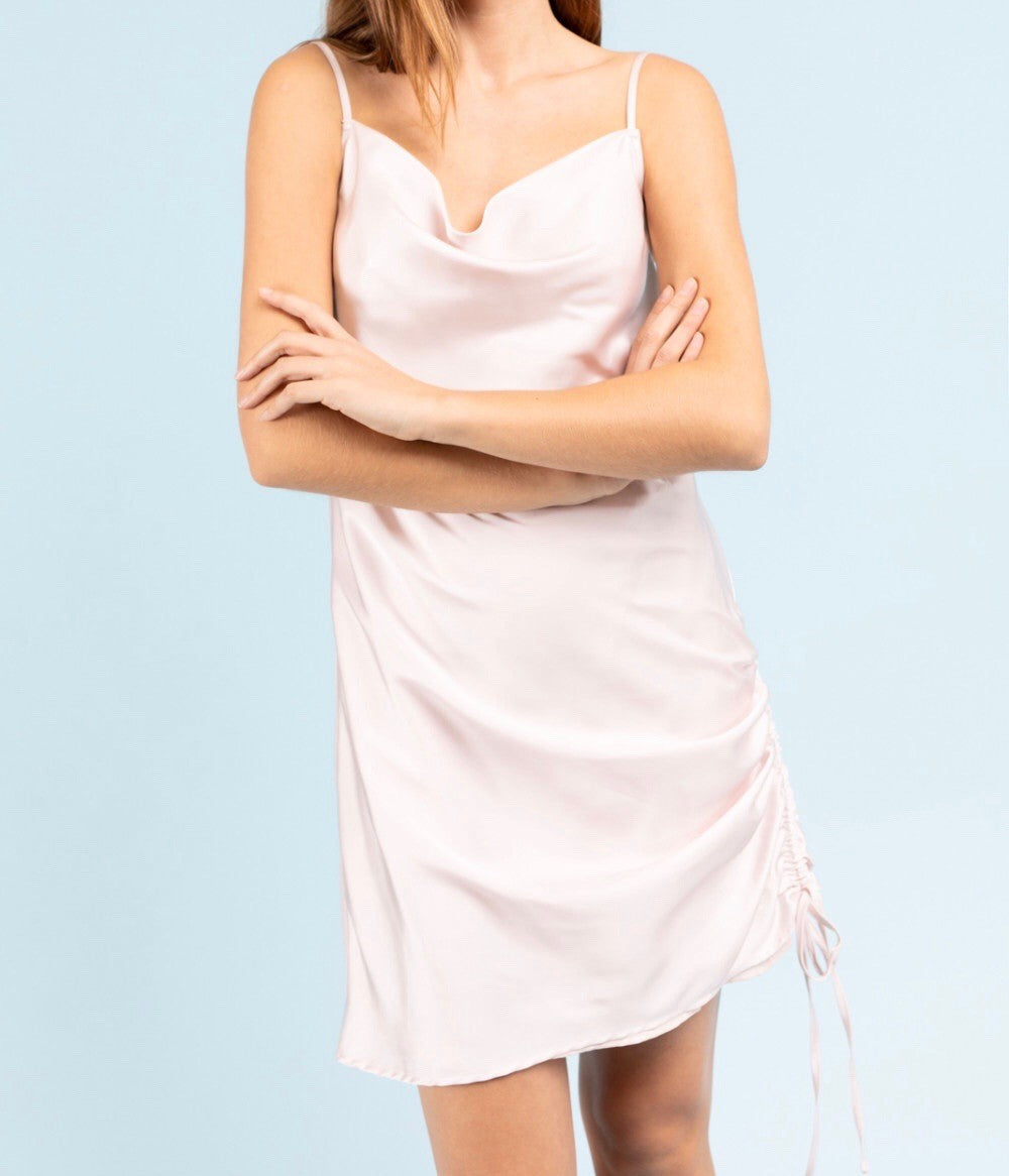 Satin Cowl Neck Ruched Side Mini Dress