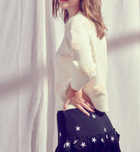 Terry Cloth Embroided Knit Star Sweater