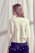 Load image into Gallery viewer, Terry Cloth Embroided Knit Star Sweater
