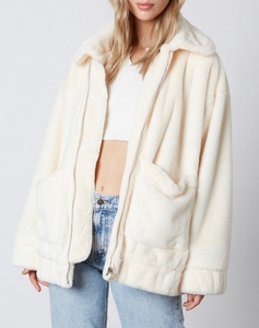 Faux Fur Patch Pocket Collared Coat
