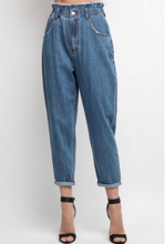 Load image into Gallery viewer, Denim Paper Bag Waist Mom Jean