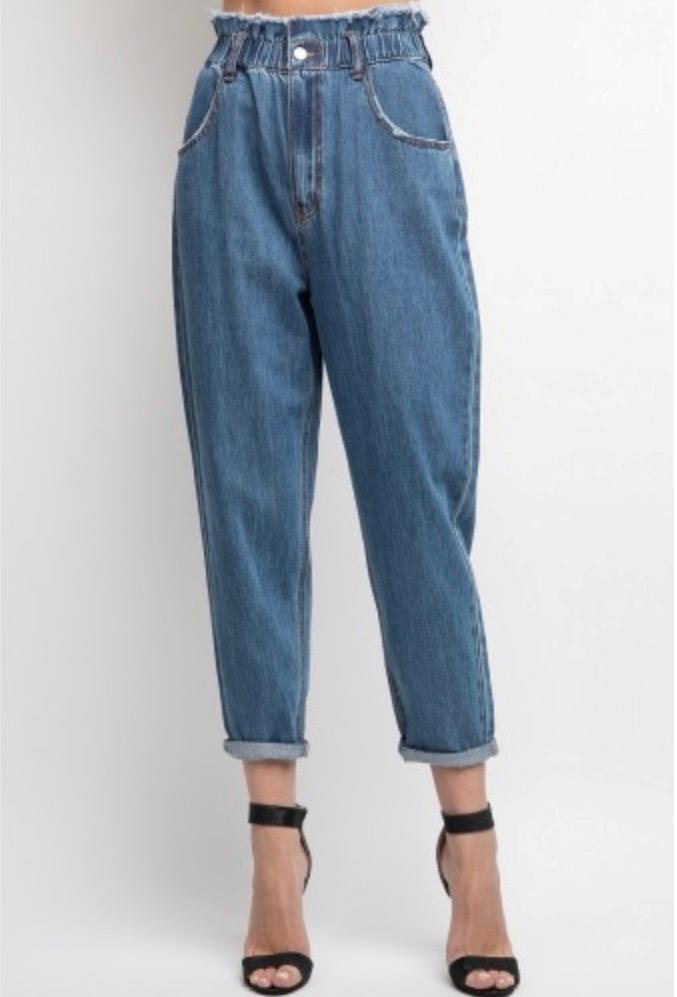 Denim Paper Bag Waist Mom Jean