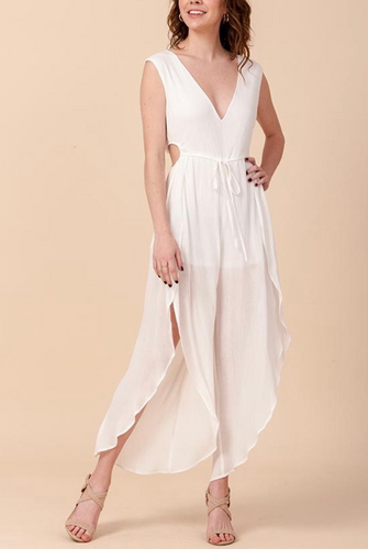 V Neck Sleeveless Side Circle Cut Out Tulip Jumpsuit