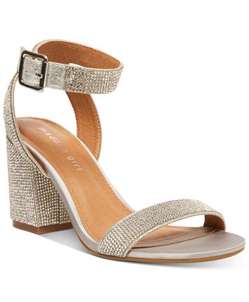Ankle Strap Rhinestone Covered Block Heel Sandal