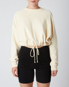 Drawstring French Terry Pullover Cropped Sweatshirt