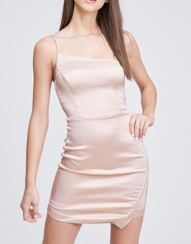 Satin One Shoulder Asymmetrical Mini Dress