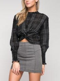 Plaid Twist Front Long Ruched Sleeve Sheer Top