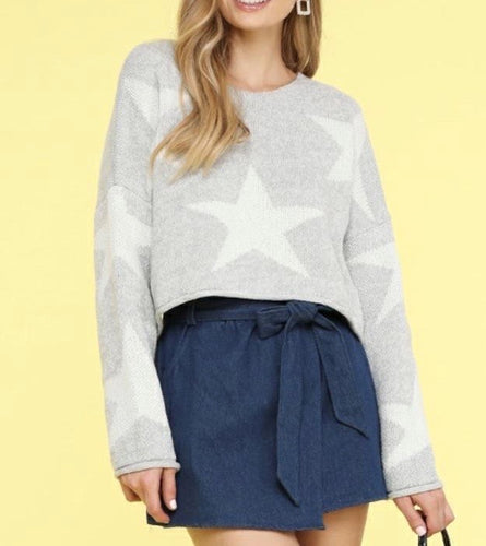 Drop Shoulder Crew Neck Crop Star Sweater