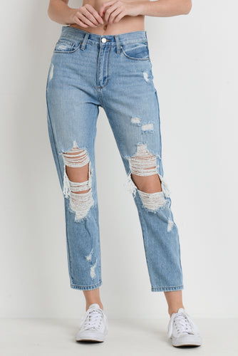 Extra Distressed Mom Jean