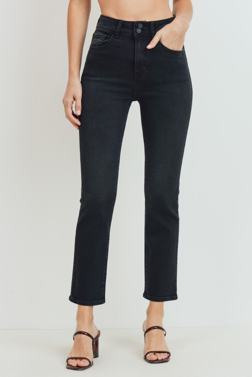 Washed High Waist Straight Leg Double Button Jean