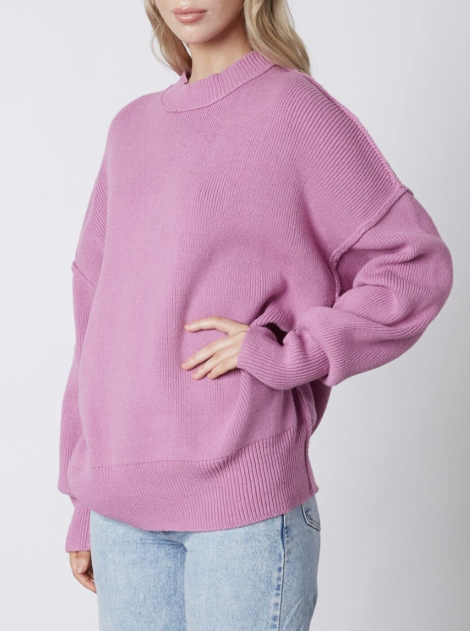 Drop Shoulder Crew Neck Sweater
