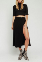 Load image into Gallery viewer, Side Slit Short Lined Midi Skirt