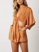 Load image into Gallery viewer, Satin Front Cut Out Self Tie Kimono Sleeve Elastic Waist Romper