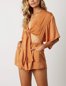 Satin Front Cut Out Self Tie Kimono Sleeve Elastic Waist Romper