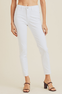Stretch High Waisted Raw Hem Skinny Jean