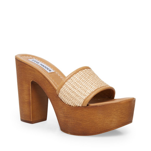 Natural Raffia Wooden Heel Sandal