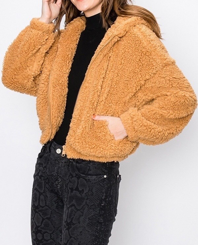 Cropped Drop Shoulder Zipper Hooded Teddy Coat