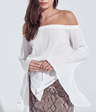 Load image into Gallery viewer, Off The Shoulder Bell Sleeve Crop Top