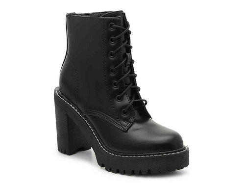 Lace Up Doc Martin Lug Sole Stacked Heel Bootie