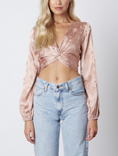 Load image into Gallery viewer, Satin Vneck Twist Floral Long Sleeve Crop Top