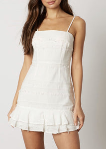 Tie Raw Fringe Ruffle Hem Mini Dress