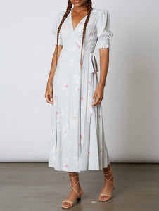 Short Sleeve Abstract Print A Line Wrap Midi Dress