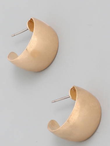 Matte C Post Hoop Earrings