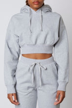 Load image into Gallery viewer, Cropped Drawstring Ribbed Band Hoodie