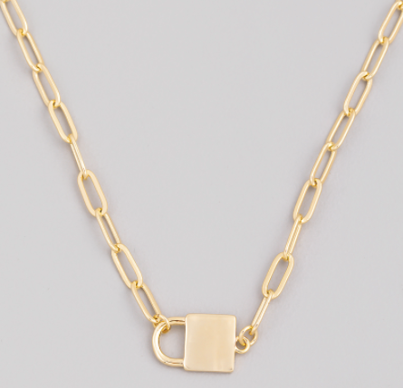 Lock Paperclip Necklace