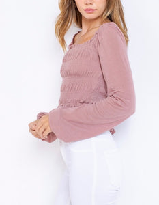 Peasant Smock Long Sleeve Crop Top
