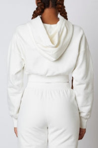 Cropped Drawstring Ribbed Band Hoodie