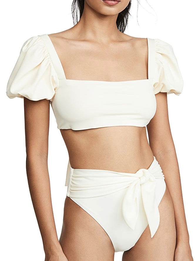 Puff Short Sleeve Tie High Waist Bikini