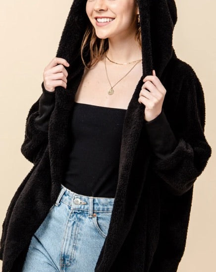 Hooded Long Sleeve 2 Pocket Teddy Coat