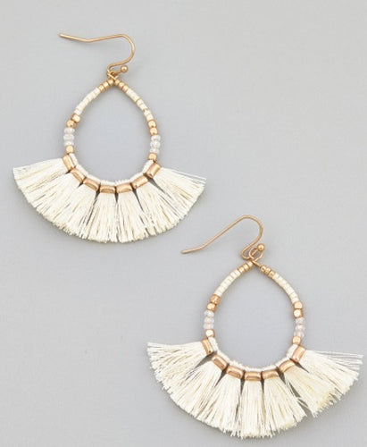 Gold Tassel Beaded Hook Earrings