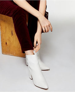 Block Heel Pointed Toe Bootie