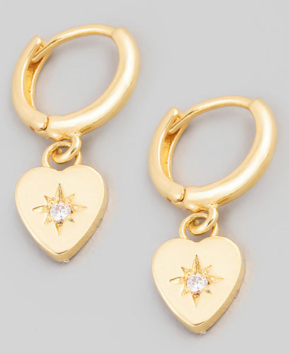 Mini Heart Drop Huggie Earrings
