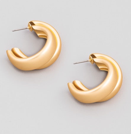 Gold Hollow Double C Hoop Earrings