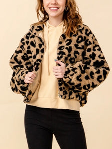 Leopard Kangaroo Pocket Zipper Teddy Coat