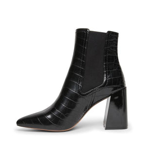 Black Patent Stamped Crocodile Stacked Heel Bootie